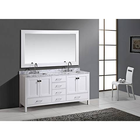 "London 72"" Carrara Marble White Double Sink Vanity Set"