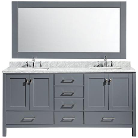 "London 72"" Carrara Marble Gray Double Sink Vanity Set"