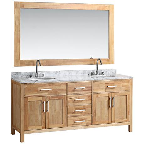 """London 72"""" Marble Oak Two Double-Door Double Sink Vanity Set"""