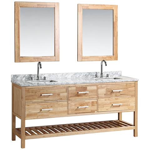 "London 72"" Marble Oak Six-Drawer Double Sink Vanity Set"