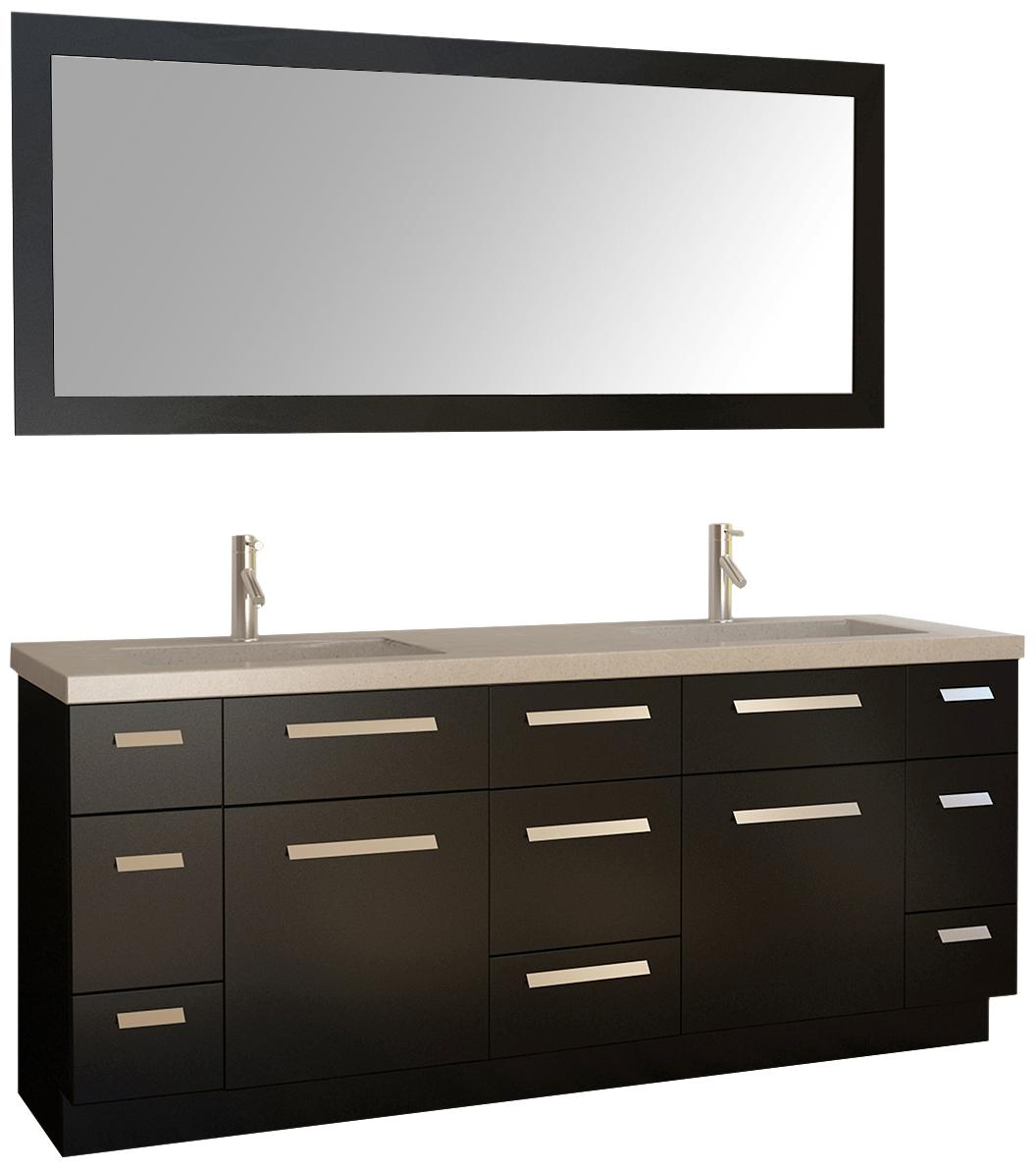 Moscony Two Espresso Double Sink Vanity Set With Mirror R Lamps Plus