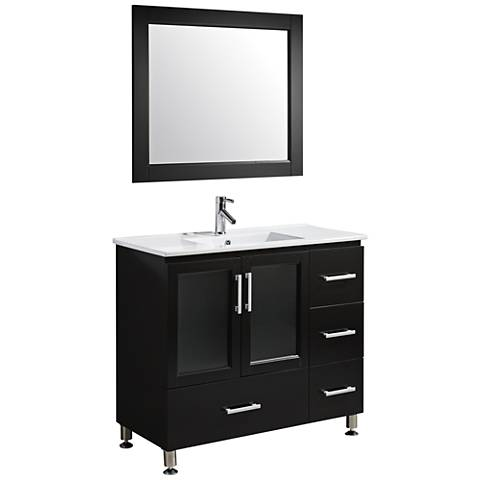 "Stanton 40"" Porcelain Espresso Single Sink Vanity Set"