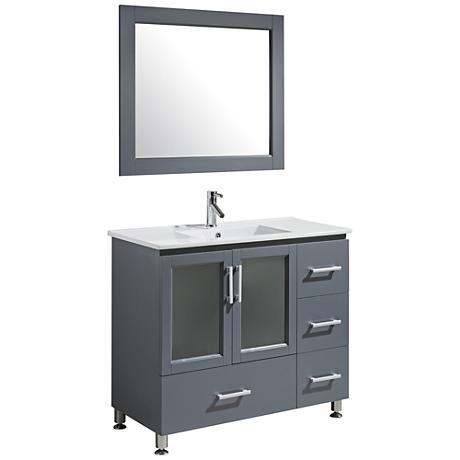 "Stanton 40"" Porcelain Gray Single Sink Vanity Set"