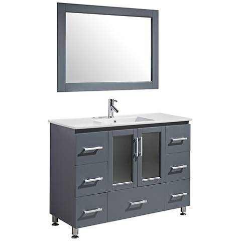 "Stanton 48"" Porcelain Gray Single Sink Vanity Set"