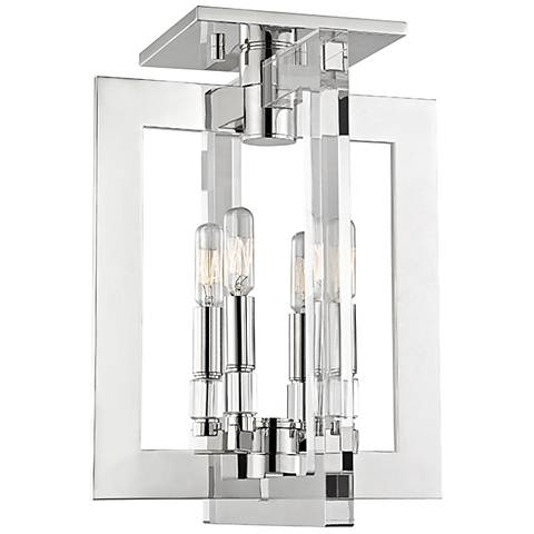 "Hudson Valley Wellington 12""W Polished Nickel Ceiling Light"
