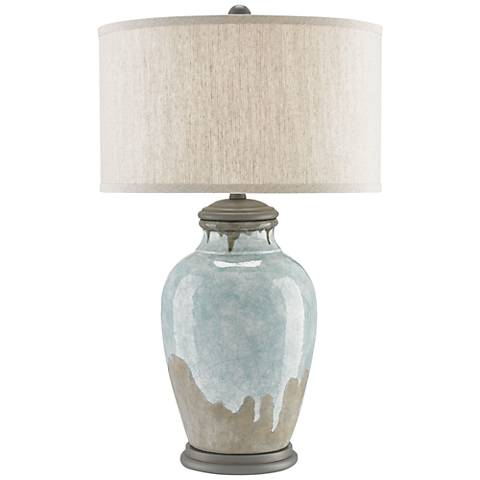 Currey and Company Chatswood Blue-Green Urn Table Lamp
