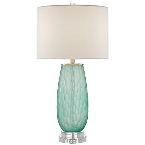 Currey and Company Raffine Sea Green Glass Table Lamp
