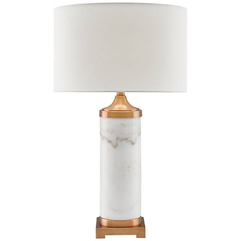 Currey and Company Brockworth White Marble Table Lamp