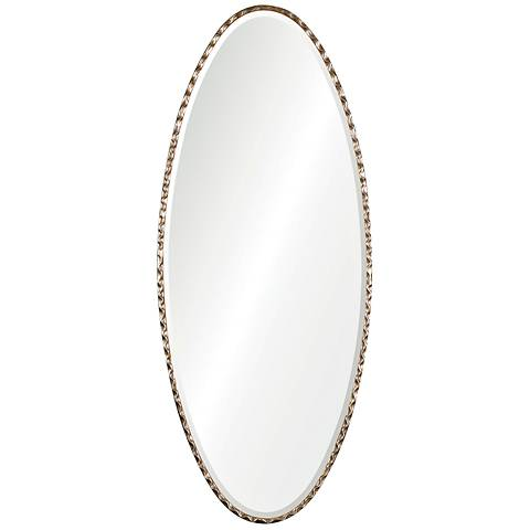 """Uttermost Vicenza Wavy Silver 25""""x 60"""" Oval Wall Mirror"""