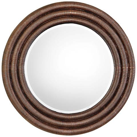 "Uttermost Helical Copper Leaf Coil 36"" Round Wall Mirror"