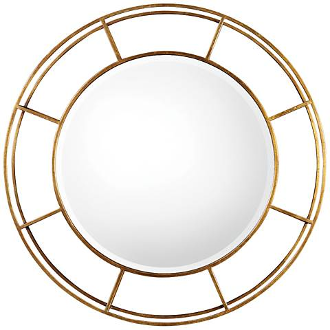 "Uttermost Salleron Gold Leaf 36"" Round Iron Wall Mirror"