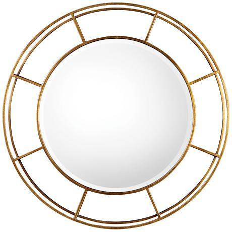 """Uttermost Salleron Gold Leaf 36"""" Round Iron Wall Mirror"""
