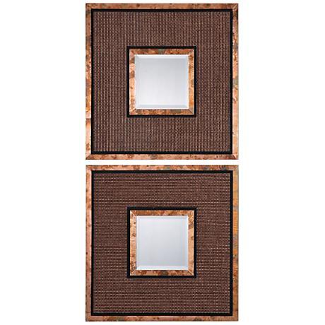 """Uttermost Milia Copper 20"""" Square Wall Mirror Set of 2"""