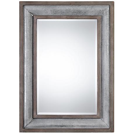 """Uttermost Selden Galvanized Steel 33 x 45"""" Wall Mirror"""