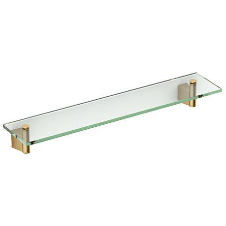 """Gatco Bleu Matte Brass 20 1/4"""" Wide Glass Shelf"""