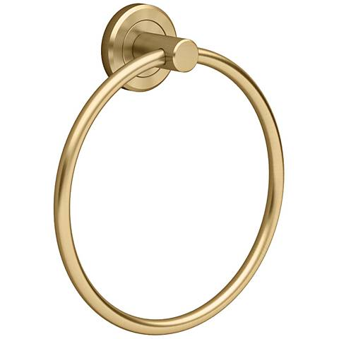 "Gatco Latitude II Matte Brass 6 1/2"" Wide Towel Ring"