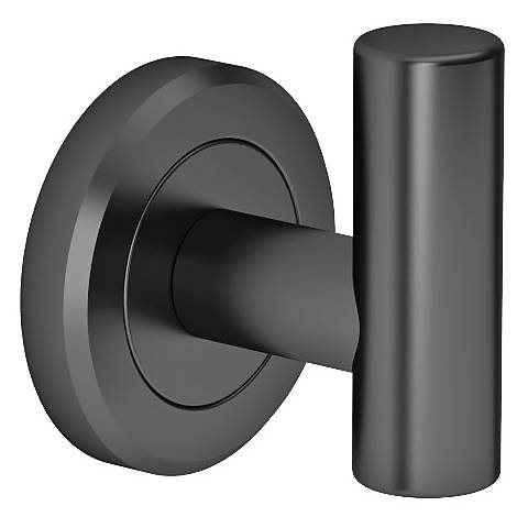 "Gatco Latitude II Matte Black 2 1/4"" High Robe Hook"