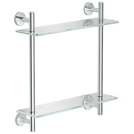 "Gatco Latitude II Chrome 18"" High Two-Tier Glass Shelf"