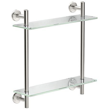 "Gatco Latitude II Satin Nickel 18"" High Two-Tier Glass Shelf"
