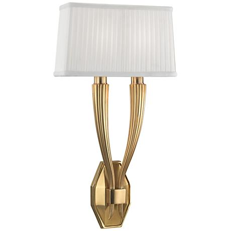 """Hudson Valley Erie 21"""" High Aged Brass Dual Wall Sconce"""