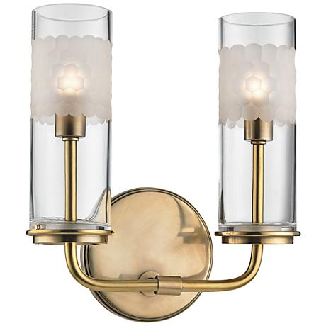 """Hudson Valley Wentworth 10 1/4""""H Aged Brass Dual Wall Sconce"""
