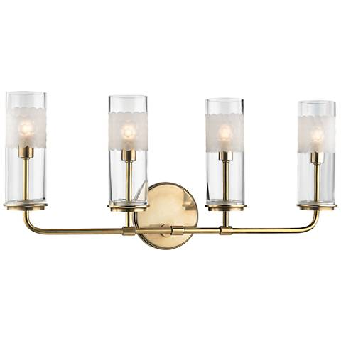 "Wentworth 10 1/4"" High Aged Brass 4-Light Wall Sconce"