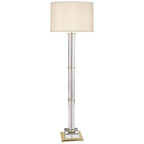 Finnie Modern Brass and Clear Crystal Floor Lamp