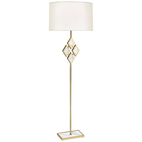 Edward Brass and White Marble with White Shade Floor Lamp