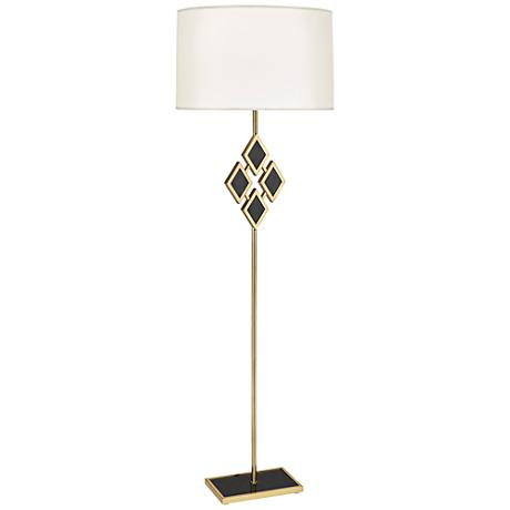 Edward Brass and Black Marble with White Shade Floor Lamp