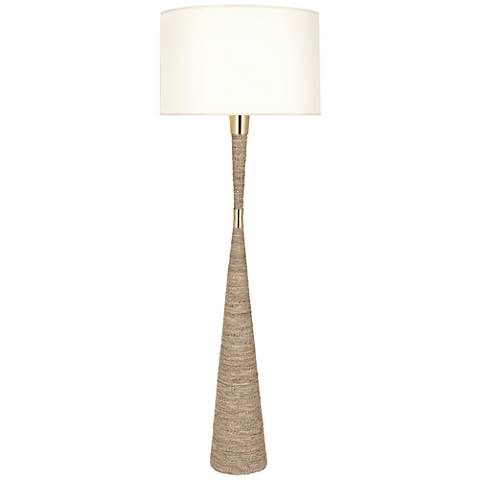 Robert Abbey Laguna Sea Grass and Modern Brass Floor Lamp