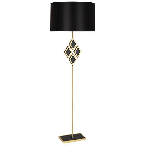 Edward Brass and Black Marble with Black Shade Floor Lamp