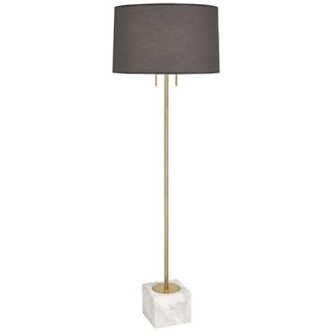 Jonathan Adler Canaan Brass with Gray Shade Floor Lamp