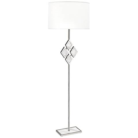 Edward Nickel and White Marble with White Shade Floor Lamp