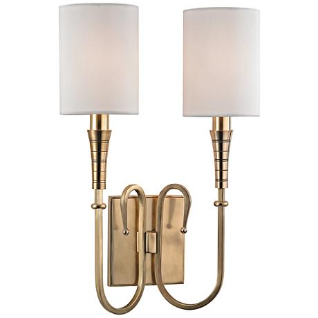 "Kensington 15 3/4"" High Aged Brass Dual Wall Sconce"
