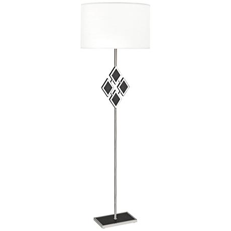 Edward Nickel and Black Marble with White Shade Floor Lamp