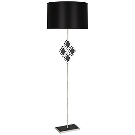 Edward Nickel and Black Marble with Black Shade Floor Lamp