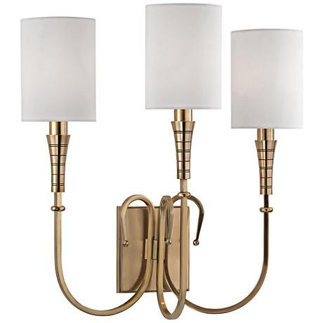 """Kensington 17 1/2"""" High Aged Brass 3-Light Wall Sconce"""