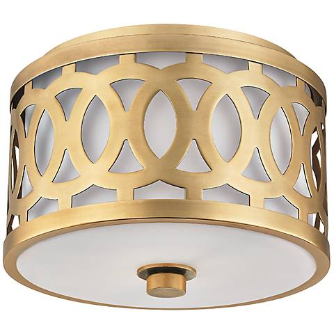 "Hudson Valley Genesee 10"" Wide Aged Brass Ceiling Light"