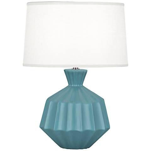 Robert Abbey Orion Matte Steel Blue Ceramic Accent Lamp