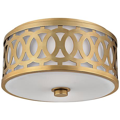 """Hudson Valley Genesee 13 1/2"""" Wide Aged Brass Ceiling Light"""