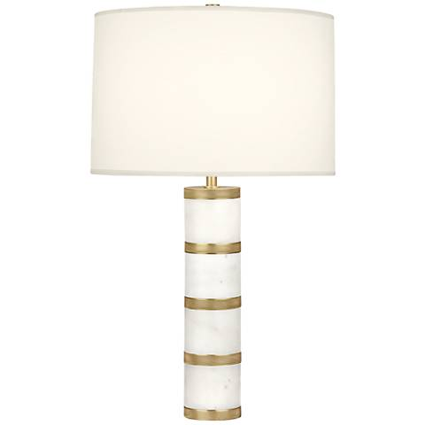Robert Abbey Wyatt Modern Brass with White Shade Table Lamp