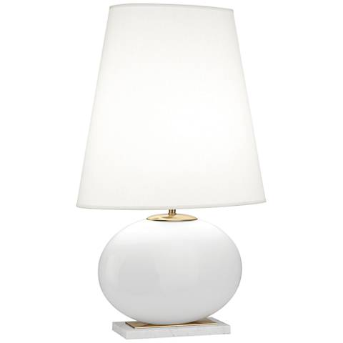 Robert Abbey Raquel White and Brass Tall Oval Table Lamp