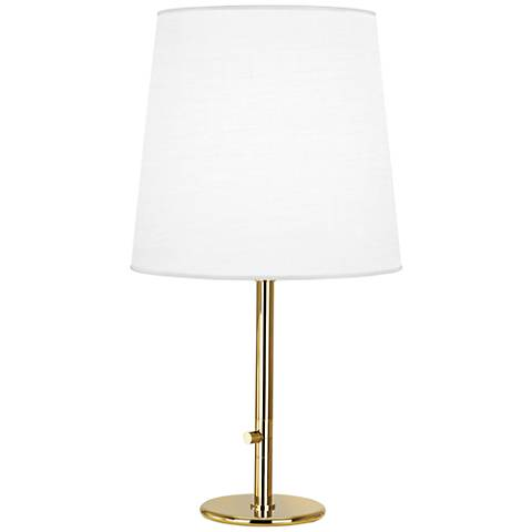 Robert Abbey Buster Ascot White Shade Brass Table Lamp