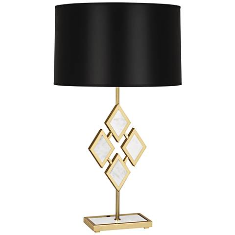 Edward Brass and White Marble with Black Shade Table Lamp