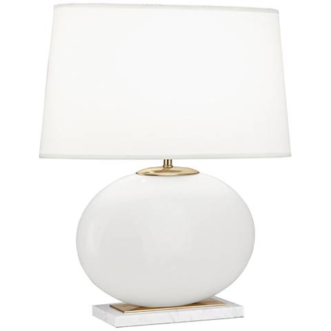 Robert Abbey Raquel White and Brass Oval Table Lamp
