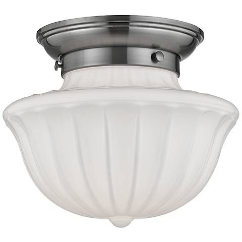 "Hudson Valley Dutchess 9"" Wide Satin Nickel Ceiling Light"