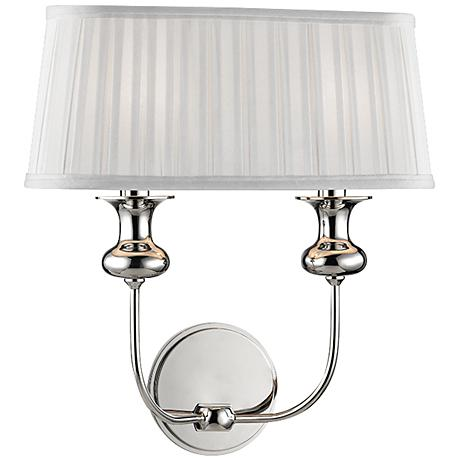 """Hudson Valley Pembroke 15""""H Polished Nickel Dual Wall Sconce"""