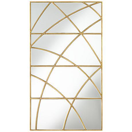 "Striked Glass Gold 27"" x 47"" Rectangular Wall Mirror"