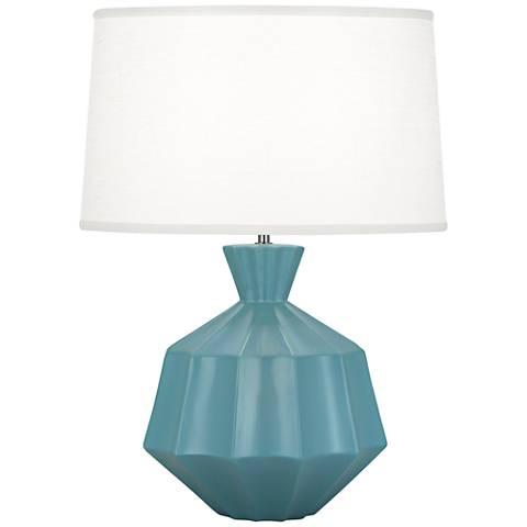 Robert Abbey Orion Matte Steel Blue Ceramic Table Lamp