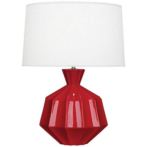 Robert Abbey Orion Ruby Red Ceramic Table Lamp